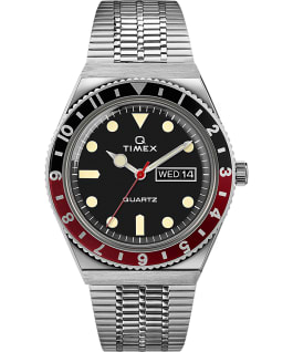 Montre Q Timex Reissue 38 mm Bracelet en acier inoxydable Stainless-Steel/Black/Red large