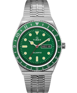 Q Timex Reissue 38mm Stainless Steel Bracelet Watch, Stainless-Steel/Green, large