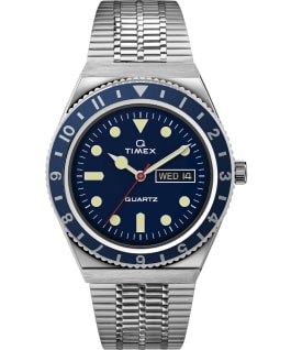 Q Timex Reissue 38mm Stainless Steel Bracelet Watch, Stainless-Steel/Blue/Blue, large