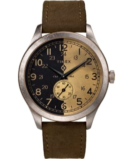 Timex x MadeWorn 41mm Leather Strap Watch Stainless-Steel/Brown large