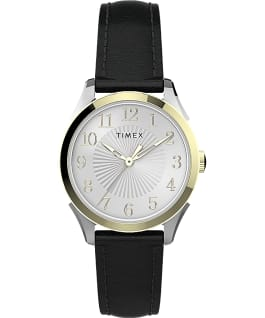 Briarwood 28mm Leather Strap Watch AMZ Two-Tone/Black/Silver-Tone large