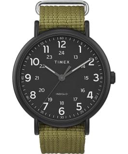 Timex Weekender XL 43mm Leather Strap Watch AMZ Black/Green large