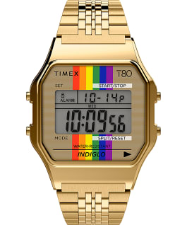 Timex T80 Rainbow 34mm Stainless Steel Bracelet Watch Gold-Tone large