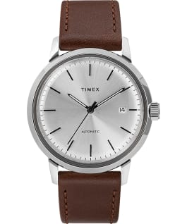 Marlin Automatic with Timex Pay 40mm Leather Strap Watch Stainless-Steel/Brown/Silver-Tone large