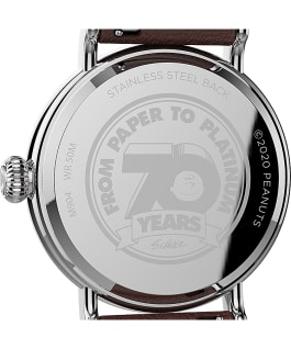 Timex Standard x Peanuts 70th Anniversary 40mm Leather Strap Watch Silver-Tone/Brown/White large