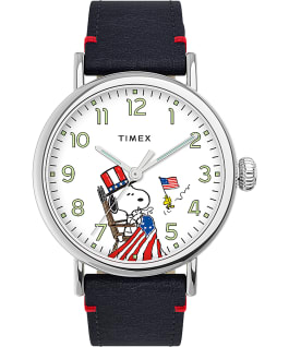 Montre standard Timex x Peanuts Saint-Valentin 40mm Bracelet en cuir Blue/Silver-Tone large