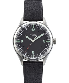 Waterbury United 38mm Steel Case with Leather Strap Watch Stainless-Steel/Black large