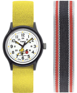 MK1 x Peanuts Featuring Woodstock 36mm Fabric Strap Watch Box Set Black/White large