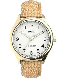 Reloj Easy Reader Gen1 de 32 mm con correa de piel Gold-Tone/Tan/White large