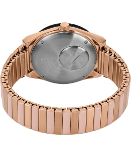 Q Timex 38mm Stainless Steel Expansion Band Watch Rose-Gold-Tone/Black large