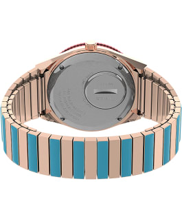Q Timex Malibu 36mm Stainless Steel Expansion Band Watch Rose-Gold-Tone/Two-Tone/Pink large