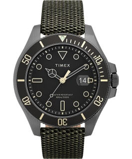 Harborside Coast 43mm Fabric Strap Watch Gunmetal/Green/Black large