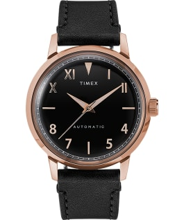 Marlin Automatic California Dial 40mm Leather Strap Watch, Rose-Gold-Tone/Black, large
