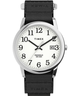 Easy Reader 35mm Fabric Fast Wrap Strap Watch, Silver-Tone/Black/White, large