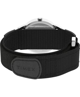 Easy Reader 35mm Fabric Fast Wrap Strap Watch Silver-Tone/Black/White large