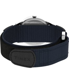 Easy Reader 35mm Fabric Fast Wrap Strap Watch Silver-Tone/Blue large