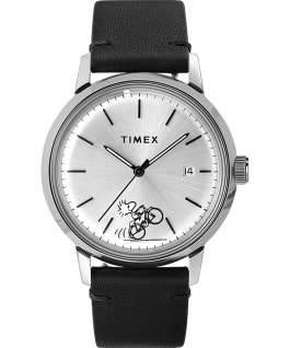 Timex Marlin Automatic x Peanuts Featuring Woodstock 40mm Leather Strap Watch, Stainless-Steel/Black, large