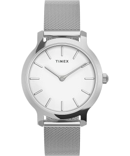 Transcend 31mm Stainless Steel Mesh Band Watch Silver-Tone/Stainless-Steel/White large