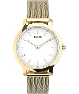 Transcend 31mm Stainless Steel Mesh Band Watch Gold-Tone/White large