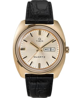 Q Timex Marmont 1975 Reissue Day-Date 38mm Leather Strap Watch Gold-Tone/Black/Champagne large