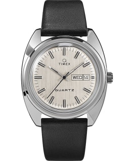 Q Timex 1978 Reissue Day Date 37mm Leather Strap Watch Stainless-Steel/Black/Silver-Tone large
