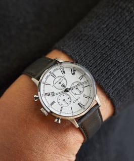 Waterbury Classic Chronograph with Roman Numerals 40mm Leather Strap Watch Stainless-Steel/Black/White large