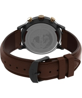 Waterbury Classic Chronograph with Roman Numerals 40mm Leather Strap Watch Gunmetal/Brown/Blue large