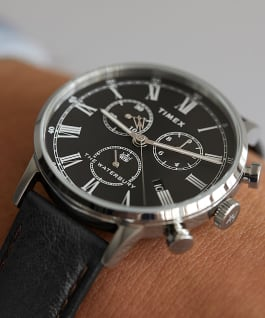 Waterbury Classic Chronograph with Roman Numerals 40mm Leather Strap Watch Stainless-Steel/Black large