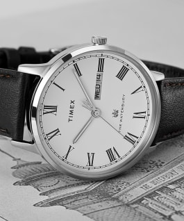 Waterbury Classic Day Date with Roman Numerals 40mm Leather Strap Watch Stainless-Steel/Black/White large