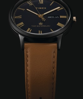 Waterbury Classic Day Date with Roman Numerals 40mm Leather Strap Watch Gunmetal/Brown/Blue large