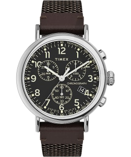 Timex Standard Chronograph 41mm Fabric and Leather Strap Watch Silver-Tone/Brown/Black large