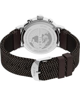 Timex Standard Chronograph mit Armband aus Stoff und Leder, 41mm Silberfarben/braun/schwarz large