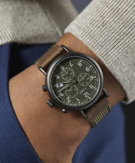 Timex Standard Chronograph 41mm Fabric and Leather Strap Watch Gunmetal/Tan/Cream large