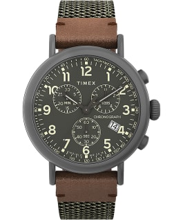 Timex Standard Chronograph 41mm Fabric and Leather Strap Watch Gunmetal/Green large