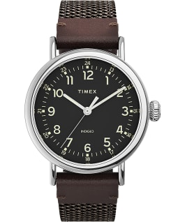 Timex Standard 40mm Fabric and Leather Strap Watch Silver-Tone/Brown/Black large
