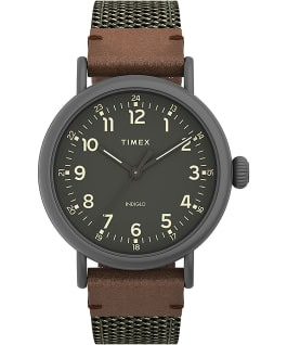 Timex Standard 40mm Fabric and Leather Strap Watch Gunmetal/Green large