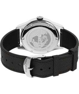 Waterbury Traditional Day Date 39mm Leather Strap Watch Stainless-Steel/Black/Silver-Tone large