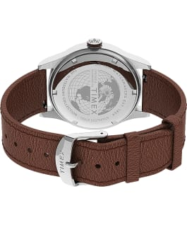 Waterbury Traditional Day Date 39mm Leather Strap Watch Stainless-Steel/Tan/Blue large
