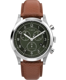 Waterbury Traditional Chronograph 39mm Leather Strap Watch Stainless-Steel/Tan/Green large