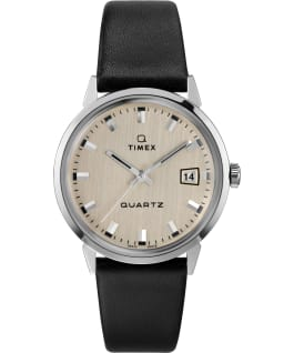 Q Timex 1978 Reissue Day-Date Round Dial 35mm Leather Strap Watch Stainless-Steel/Black/Silver-Tone large