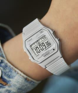 Reloj Timex T80 de 34mm con correa de extensión de acero inoxidable White-Tone large