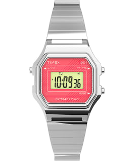 Timex T80 Mini 27mm Stainless Steel Expansion Band Watch Silver-Tone/Stainless-Steel large