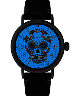 Timex Standard Día de los Muertos 40mm Leather Strap Watch Silver-Tone/Blue/Black large