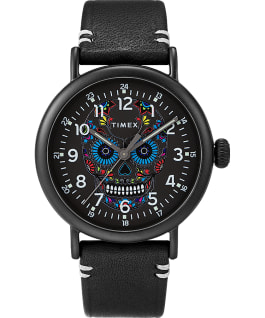 Timex Standard Día de los Muertos 40mm Leather Strap Watch Black/Black/Black large