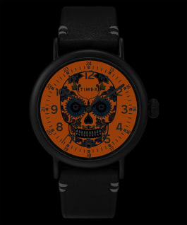 Timex Standard Día de los Muertos 40mm Leather Strap Watch Black/Orange/Black large
