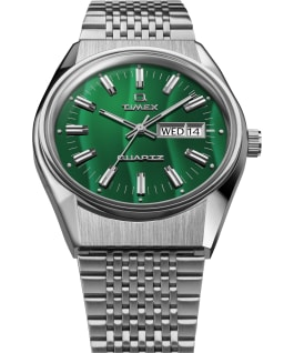 Q Timex Reissue Falcon Eye 38mm Stainless Steel Bracelet Watch Stainless-Steel/Green large