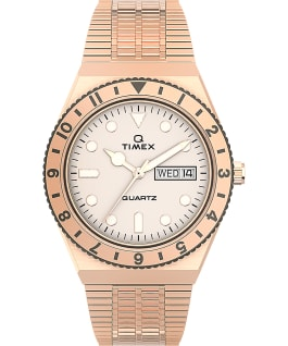 Q Timex 36mm Stainless Steel Bracelet Watch Rose-Gold-Tone/Cream large
