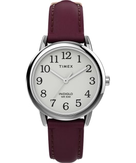 Easy Reader 30mm Leather Strap Watch Silver-Tone/Burgundy/White large
