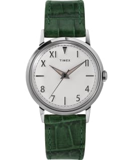 Marlin Hand Wound California Dial 34mm Leather Strap Watch Stainless-Steel/Green/White large