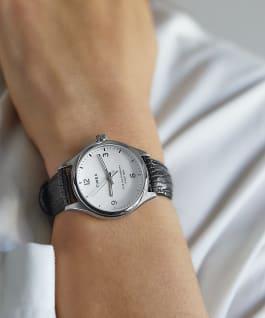 Montre Waterbury Traditional 34mm Bracelet en cuir Acier inoxydable/Noir/Blanc large